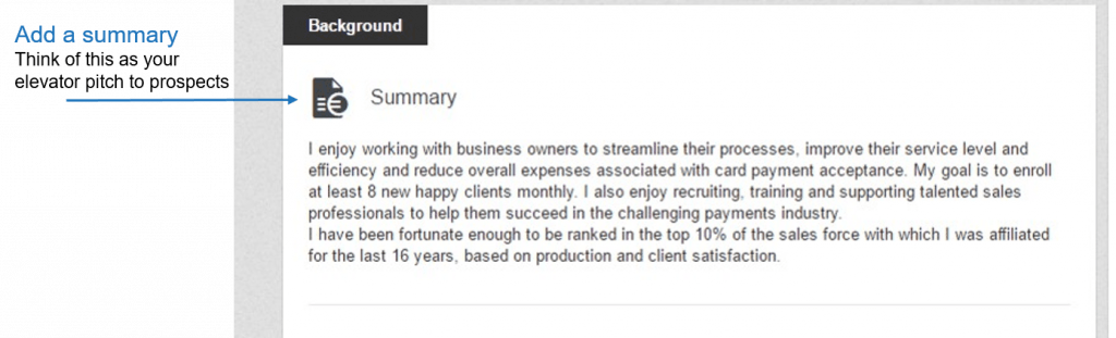 linkedin summary screenshot